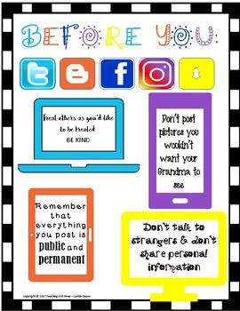 Social Media Etiquette Classroom Poster