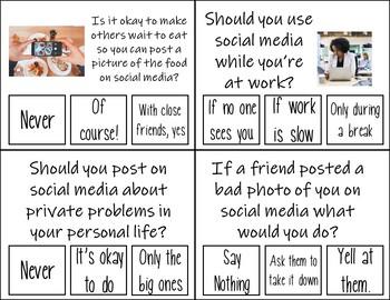Social Media Etiquette/Safety Task Cards