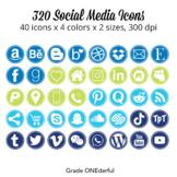 Social Media Icon Set: Round, 200 Blog Icons, Blue Green Navy