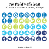 Social Media Icon Set: Round, 200 Blog Icons, Blue Green Navy