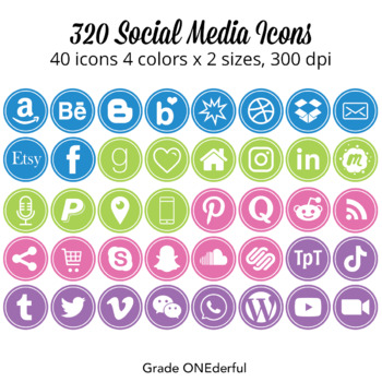 Social Media Icon Set: Round, 200 Blog Icons, Purple Pink Green Blue