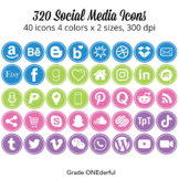 Social Media Icon Set: Round, 200 Blog Icons, Purple Pink