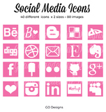 80 SOCIAL MEDIA Icon Set, Squares, Pink and White, 2 sizes