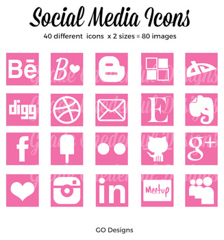 80 SOCIAL MEDIA Icon Set, Squares, Pink and White, 2 sizes