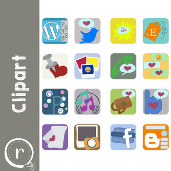 Social Media Icons Clipart