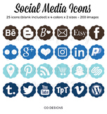 Social Media Icons: Blog Buttons, Flowers, Aqua, Brown, Blue, Navy