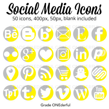 Social Media Icons: Blog Buttons, Instagram, Pinterest and 22 more!