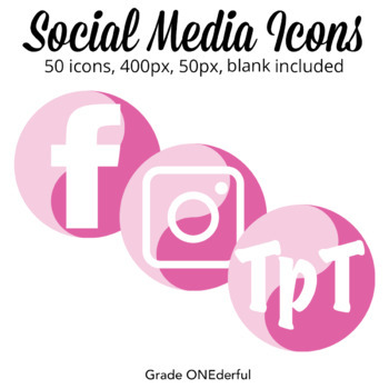 Social Media Icons: Blog Buttons, Pink, Instagram, Pinterest, Blogger, Word Pres