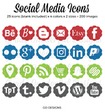 Social Media Icons: Blog Buttons, Social Media, Periscope Pinterest Instagram