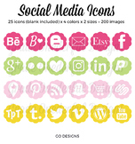 Social Media Icons: Blog Buttons, Social Media, Twitter Pinterest Blog Lovin'