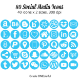 Social Media Icons: Blue, Round, Twitter, Facebook, IG, Bl