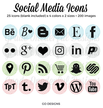 Social Media Icons: Circles and Chevrons, Periscope, Pinterest, Instagram