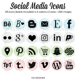 Social Media Icons: Circles and Chevrons, Periscope, Pinte