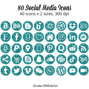 Social Media Icons | Glittery Turquoise