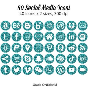 Social Media Icons Turquoise Glitter