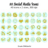 Social Media Icons | Gold Glitter on Aqua Watercolor | Blo