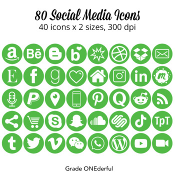 Social Media Icons: Green, 4 Sizes, Instagram, Twitter, TpT and Lots More!!