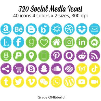 Social Media Icons: Instagram, Pinterest, Blog Lovin, 4 Colours