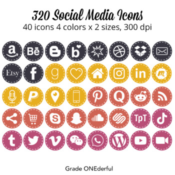Social Media Icons, Round with Stitching, For Blog and Pro