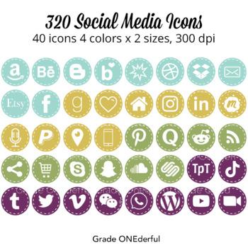 Social Media Icons: Periscope, Snapchat,  Instagram, Blogger, WordPress