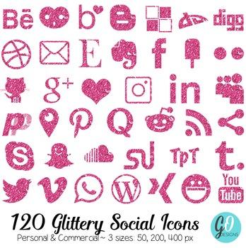 Social Media Icons: Pink Glitter, Blog Buttons, Social Med