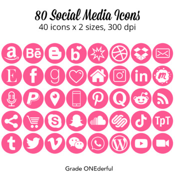 Social Media Icons: Pink Round Social Icons, Two Sizes, Pinterest, TPT