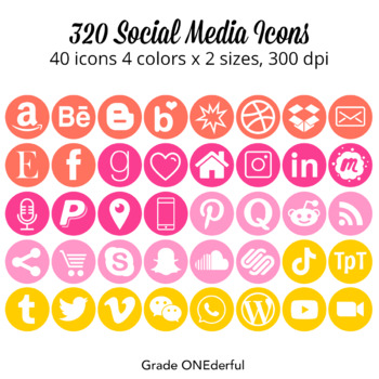 Social Media Icons: Pinks, Orange, Yellow, Pinterest, Instagram, TpT
