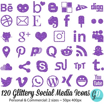 Social Media Icons: Purple Glitter, Blog Buttons, Twitter,