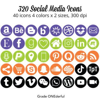 Social Media Icons: Purple Green Orange, Snapchat, Instagram, Blogger, WordPress