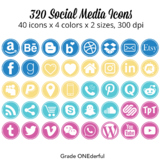 Social Media Icons: Round Blog Buttons, Pink Aqua Gold Blue