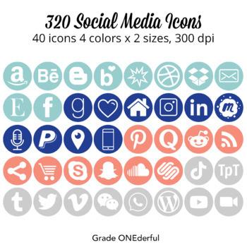 Round Social Media Icons: Instagram, Blogger, WordPress, Pinterest, Twitter