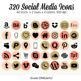 Social Media Icons: Round, Gold, White, Orange, For Blogs and Product Pages