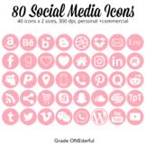 Social Media Icons LIght Pink