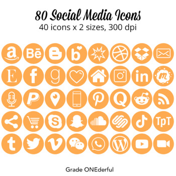 Social Media Icons:  Round Orange Social Icons, Two Sizes, Instagram, Facebook