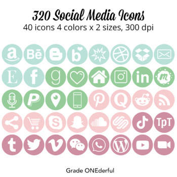 Social Media Icons: Round, Pink, Mint, Green, For Blogs an