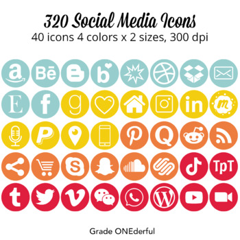 Social Media Icons: Round, Red, Aqua, Gold, Orange, For Blogs and Product Pages