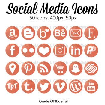 Social Media Icons Rose Gold Foil