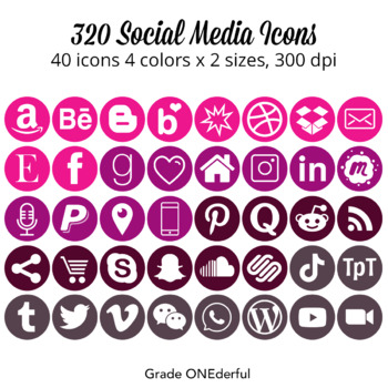 Social Media Icons: SnapChat, Periscope, Twitter, Facebook,  Pink Violet  Gray