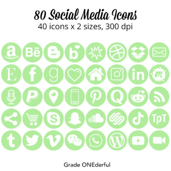 Social Media Icons: Round Social Icons, Light Green, 25 Icons