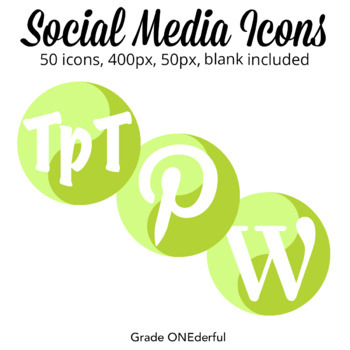 Social Media Icons: Round with Two-Tone Green Design, Instagram, Pinterest
