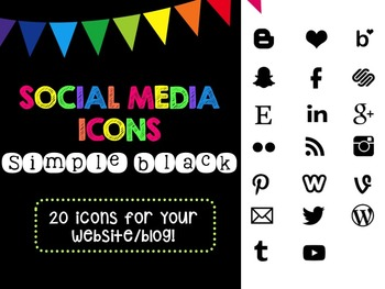 Social Media Icons - Simple Black