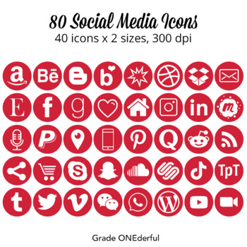 Social Media Icons: SnapChat, Periscope, Twitter, Facebook,  Round Red Icons