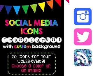 Social Media Icons - Transparent Icon Custom Background