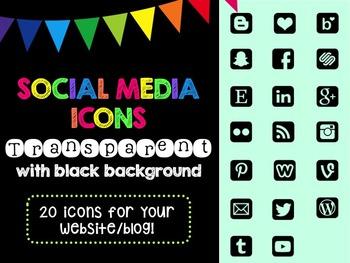 Social Media Icons - Transparent Icon Black Background