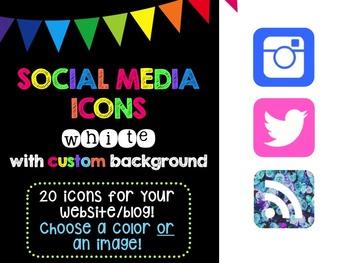 Social Media Icons - White Icon Custom Background