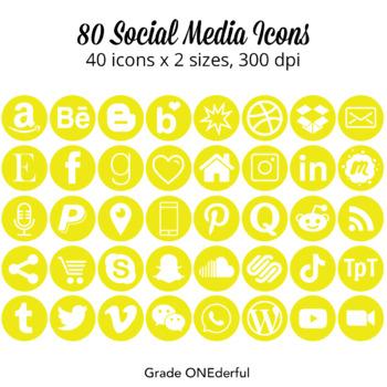 Social Media Icons: Yellow, Gold, 4 Sizes, Instagram, Twitter, TpT, Pinterest