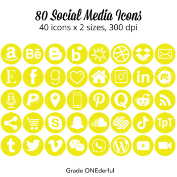 Social Media Icons: Yellow, Gold, 4 Sizes, Instagram, Twitter, TpT, Pinterest