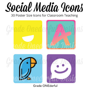 Social Media Icons in Poster Size For Internet Safety Awareness