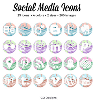 Social Media Icons with Abstract Marble Textures, Instagra