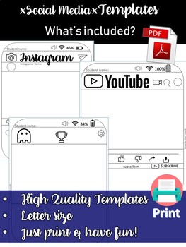 Social Media *Most Commonly*Used Platforms Writing Templates